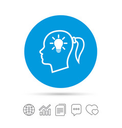 head with lamp bulb sign icon female woman head vector image vector image