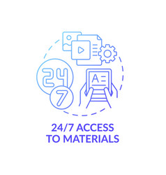 24 to 7 access to materials concept icon vector