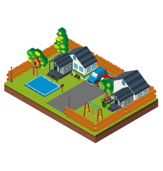 3d design for houses with pool and swings vector image