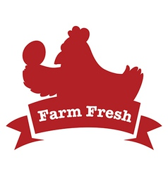A farm fresh label with a red chicken vector