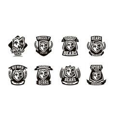 a set logos emblems a growling bear vector image