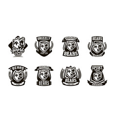 a set of logos emblems a growling bear vector image