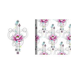 Abstract watercolor lotus print and seamless vector