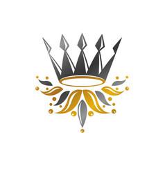 Ancient crown heraldic design element retro vector