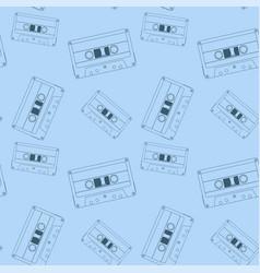 Audio tape cassette blue seamless pattern vector