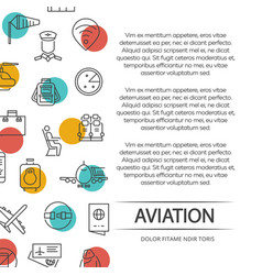 Aviation poster concept with outline icons vector