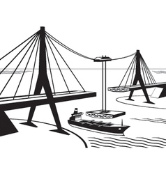 Building of suspended bridge vector