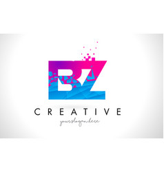 Bz b z letter logo with shattered broken blue vector