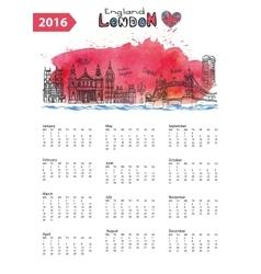 Calendar 2016London Landmarks skylinewatercolor vector