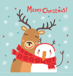 christmas card with a deer and a snowman vector image