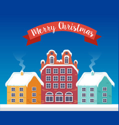 christmas city flat background vector image