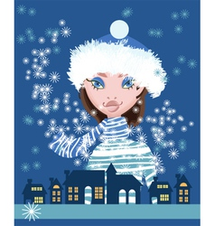 christmas lady vector image