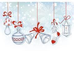 Christmas ornaments festive background vector image