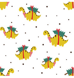 christmas seamless pattern with cute dinosaur vector image
