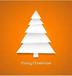 Christmas tree made from pieces of white paper vector image