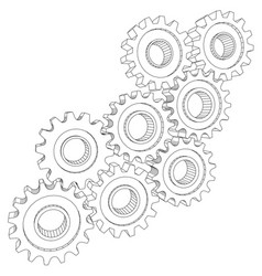 Cog wheel gear mechanism close-up white vector