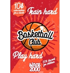 Color vintage basketball poster vector
