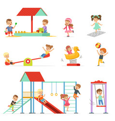 Cute cartoon little kids playing and having fun at vector
