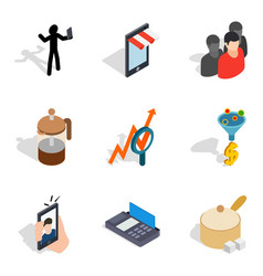 Dame icons set isometric style vector
