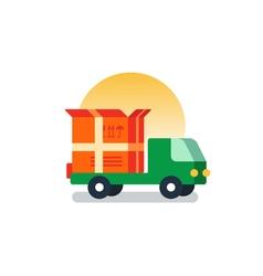 Delivery logistics serveces icon move boxes vector