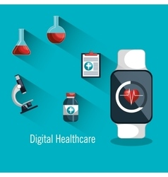 Digital healthcare smartwatch monitoring health vector