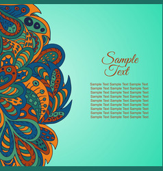 doodle ethnic card red and marine colors vector image