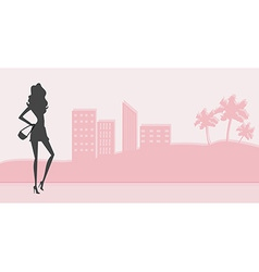 Fashion girl Shopping silhouette vector