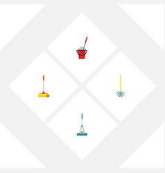 Flat icon mop set of broomstick cleaner cleaning vector