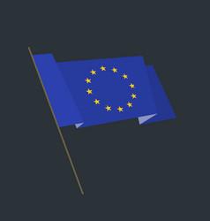 Flat style waving european union flag vector