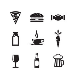food and drink icons set signs vector image