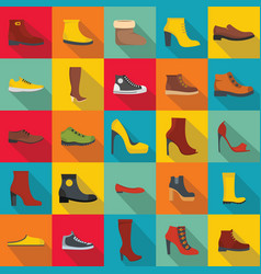 Footwear shoes icon set flat style vector