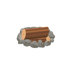 Forest camp stoned fireplace with tree trunks vector