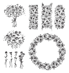 Freehand drawn floral design elements vector image
