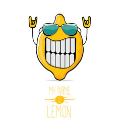 funny cartoon cute yellow lemon vector image