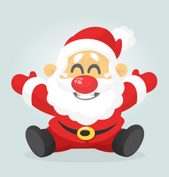 Funny excited cartoon santa claus sitting vector