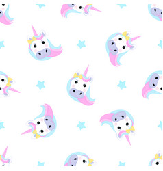 funny unicorn and stars seamless pattern for the vector image