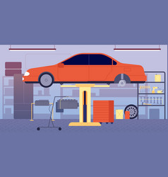garage interior car repair service tool vector image