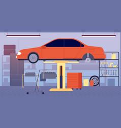 Garage interior car repair service tool vector