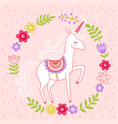 greeting card with miles unicorn in cartoon vector image