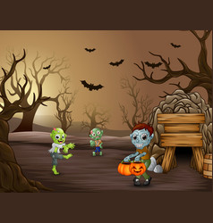group of zombie celebration halloween in dead fore vector image