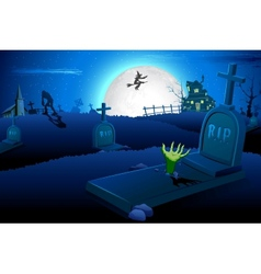 Halloween night in graveyard vector