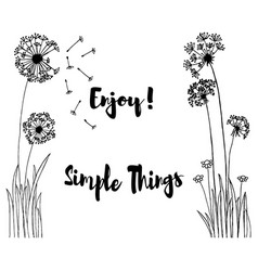 hand drawn of wild flowers with enjoy simple vector image