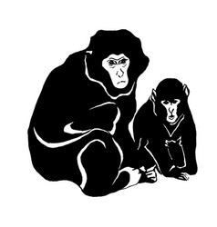 hand drawn sketch of monkey isolated on vector image