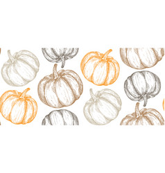 Hand drawn sketched pumpkin seamless vector