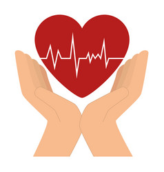 hands with heart cardio icon vector image