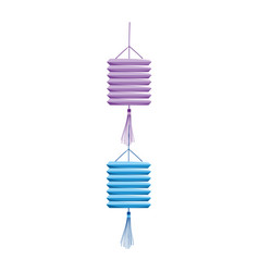 Hanging chinese lanterns decoration isolated icon vector