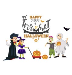 happy halloween dad with kids at horror party vector image