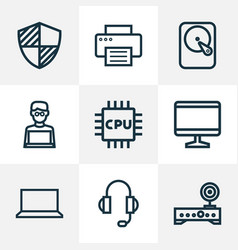 hardware icons line style set with man with laptop vector image