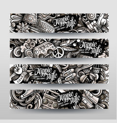 Hippie hand drawn doodle banners set cartoon vector