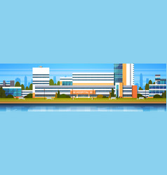 hospital building exterior modern clinic view vector image